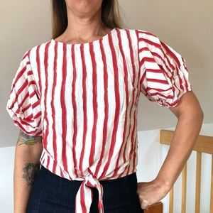 Amazing Red and White Striped Puffy Sleeve Blouse